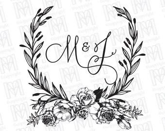 Vintage Laurel Wreath Wedding Monogram - Wedding Logo - Wedding Crest - Printable Monogram - Garden Wedding Monogram - rose peony magnolia