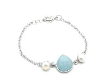 Gaea Bracelet - Rhodium - Aquamarine