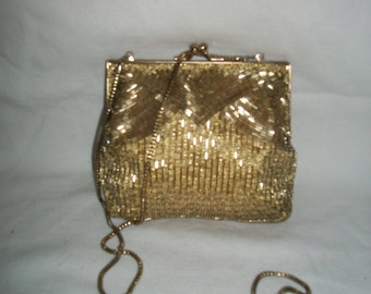 Vintage Gold Microbead Hand Made Evening Bag by Magid