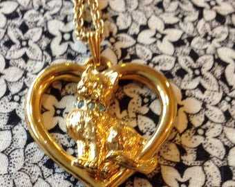 Vintage Gold Toned Chain with Heart Cat Pendant