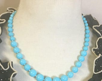 Darling - Retro inspired graduated glass bead necklace in gorgeous sky blue by Seditious Jewelry
