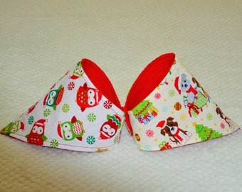 2 x Christmas Dribble Bib, 2 x Christmas Bandana Bib, Christmas Bib, Puppy Christmas Bib, Owl Christmas Bib, Red and Green Bib