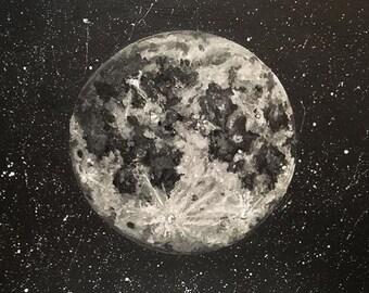 Snow Moon full moon detailed acrylic painting deep edged