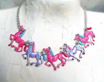 "Horse necklace silver zinc alloy 18"" carousel little pony bright pastel hand painted enamel"