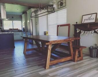 Farmhouse Dining Room Table // Knotty Alder // Rustic // Truss