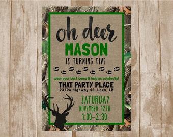 Oh Deer Birthday Invite, Hunting Camo Burlap Invite