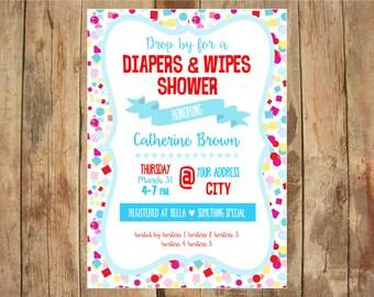 Diapers & Wipes Shower Invite - DIGITAL file 5x7 - Boy or Girl - Confetti Invite