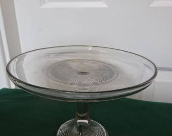Vintage Pressed Glass Cake Stand/1940s