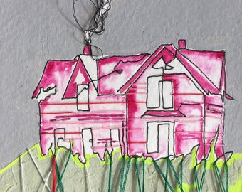 House on the hill // continous line // architecture // embroidery