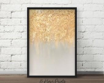 Instant Download Blue Gold Leaf Painting, Gold Leaf Art Print, Gold Abstract Art, Gold Foil Art, Foil Painting