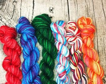 Mini Skeins of Yarn - Sock Yarn Set - Yarn Assortment - Hand Dyed Yarn - Indie Dyed Yarn - Geek Yarn - Nerd Yarn - Mightiest Heroes