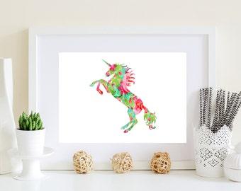 Unicorn Art Poster - printable unicorn, unicorn art, horse artwork, unicorn art print, digital download, unicorn poster, floral horse