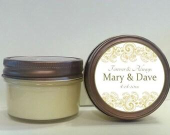 Elegant Wedding Favor/ Wedding Favor Candle/ Set of 12 - 4 oz/ Mason Jar Favor/ Personalized Wedding/ Soy Candle/Wedding gift/Wedding Favor