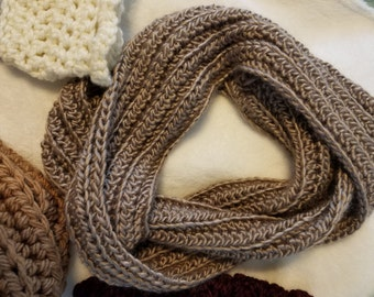 Ribbed Taupe Infinity Scarf