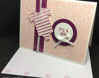 Baby Card, Baby Girl Card, Flower Baby Card, Pink Baby Card, Grosgrain Ribbon, Hand-Painted Watercolor, Stampin' Up! Designs