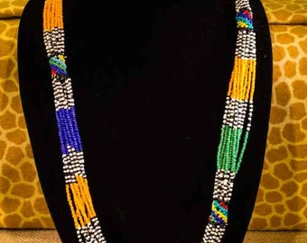 African Beaded Necklace - Colorful