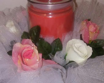 Rose tulle candle ring