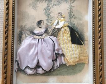 Table dressed fashion illustrated vintage fashion print