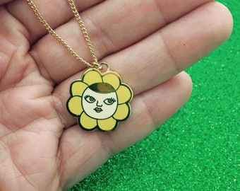 Flower Face Charm Necklace