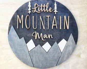 Mountain Detail Round Wood Sign | Name Sign | Custom Sign | Wood Cutout | Home Decor | 3D Letters | Nursery Decor | Baby