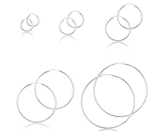 14K White Gold Endless Round Hoop Earrings 2.0mm 15-65mm - Classic Polished Plain Tube