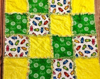 Baby Rag quilt, Monkeys,Yellow,Crayons,Soft,Baby blanket