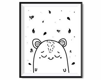 Cute bear ,Nursery Wall Art Printable, Animal Nursery Art, Kids Wall Art, Nursery Print, Kids Print Instant Download, black , Nursery Decor