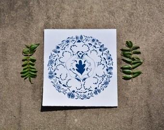 """Fox Mandela Screen Print - """"Delft"""" Blue"""