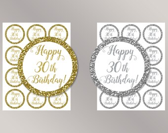 Happy 30th Birthday Cupcake Toppers, Happy Birthday favor tags, 30th Birthday Party Decor, Birthday Decorations, Gold, Silver Cake toppers