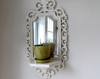Ornate Mirror With Shelf - Vintage - Shabby Chic - Baroque - Cottage White Distressed - Plant Shelf - Baby Nursery - Bathroom Bedroom