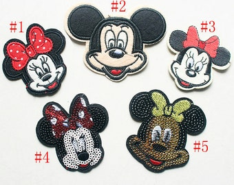 Color Glitter Mickey Mouse Applique cloth stickers DIY garment accessories decorative Sequin cloth hair bag accessory supply