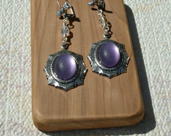 Silver Light Amethyst Moonstone Earrings