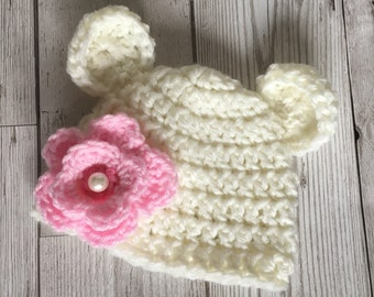 Handmade Baby crochet hat - made to order - lovely photo prop, new baby gift