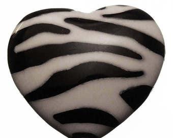 5 Black & White Zebra Striped Heart Acrylic Beads 27mm Animal Print Plastic