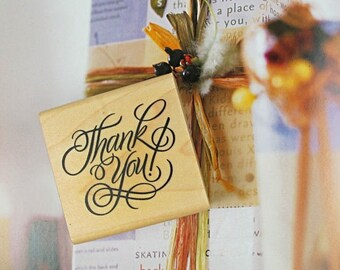 "Wooden and rubber stamp ""thank You"""