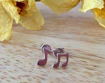 Music Note Earrings, Silver Note Earrings, Music Lover Earrings, Note Studs, Musical Jewelry, Treble Clef Studs, Musical Note, Musical Note