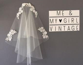 Boho veil, Vintage Inspired Veil, 20s 30s Inspired Veil, Vintage veil, 1920s Veil, Lace Trimmed Veil, Gatsby Veil, Lace Veil, Wedding Veil