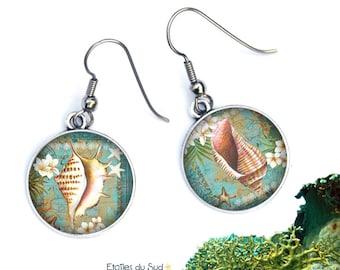 Seashell earrings, background sea, ocean, surgical steel, ref.284