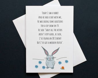 Starsky and Hutch card, funny rabbit card, funny rabbit poem, rabbit card, Starsky card, Hutch card, card about auditions, actor card