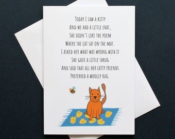 Funny kitty card, kitty poem, cat on the mat card, cat on the mat poem