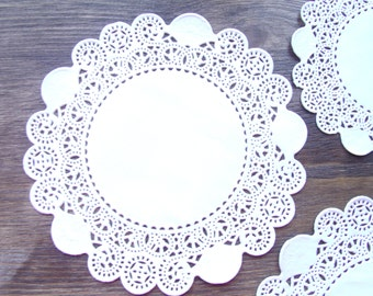 10 lace o12cm Doilies in color white paper