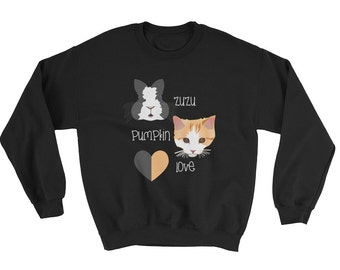 ZuzuPumpkinLove Sweatshirt - Rabbit Sweatshirt - Bunny Sweatshirt - Cat Sweatshirt - Kitten Sweatshirt