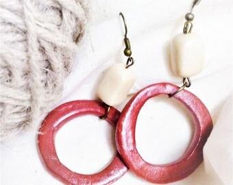 Earrings coral ring