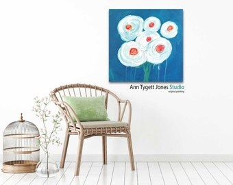 Original abstract floral painting, bouquet of white flowers, blue and white acrylic floral abstract, flower art, flower painting, fun art,