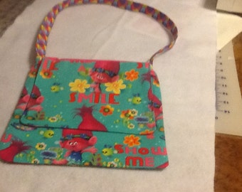 Troll messenger bag, messenger bags, character bags, purses, cross strap messenger bag, kids purses