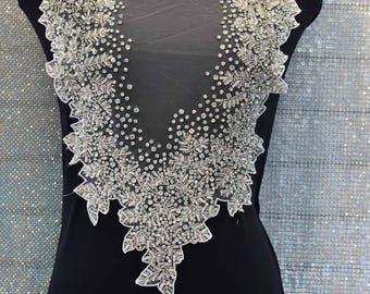 Designer Full body Rhinestone Applique, Beaded Wedding Dress Applique. Swarovski Shine # D53270