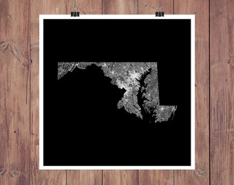 Maryland Roads High Resolution Digital Print / Map of Maryland / Maryland Print / Maryland Wall Art / Maryland Poster / Maryland Map Art