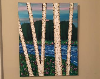 """White Trees - acrylic painting wall décor art, 16""""x20"""" canvas stretched/wrapped on 5/8"""" bars"""