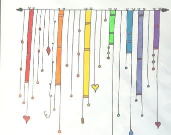 Handmade Rainbow Coloured Dangle Greeting Card