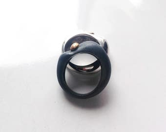ARP-01: sterling silver carved ring oxidized and gold
